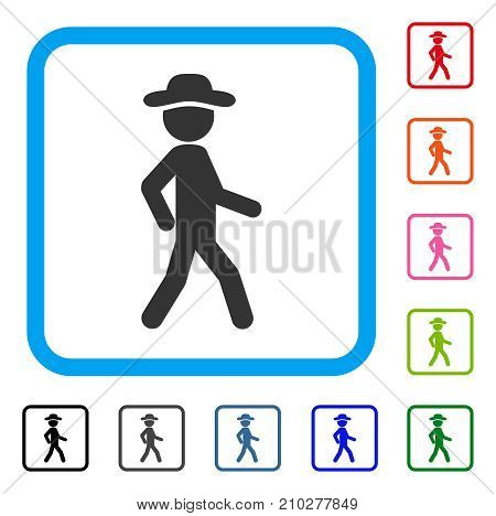 Walking Gentleman icon. Flat gray pictogram symbol inside a light blue rounded rectangle. Black, gray, green, blue, red, orange color versions of Walking Gentleman vector.