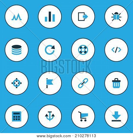 User Colorful Icons Set. Collection Of Calculate, Cart, Events And Other Elements