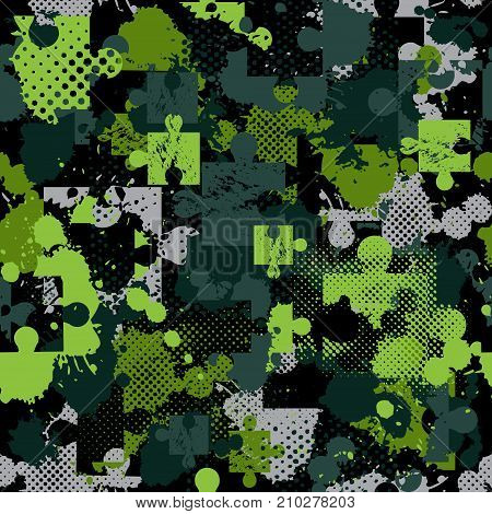 Abstract seamless puzzle pattern for girls boys clothes sportswear. Creative vector background with puzzle square splash dots.Funny puzzle wallpaper for textile and fabric.Fashion style.