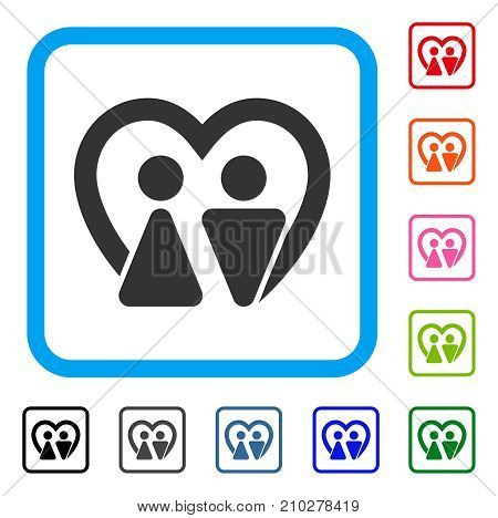 Marriage icon. Flat grey iconic symbol in a light blue rounded frame. Black, gray, green, blue, red, orange color versions of Marriage vector. Designed for web and application UI.