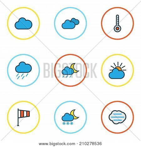 Climate Colorful Outline Icons Set. Collection Of Clouded, Lunar, Scale And Other Elements