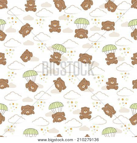 Cute kids pattern bear for girls and boys. Colorful bears on the abstract grunge background create a fun cartoon drawing. The background is made in neon colors. Urban bear backdrop for textile