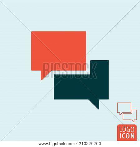 Speech bubble icon. Chat text box symbol. Vector illustration.