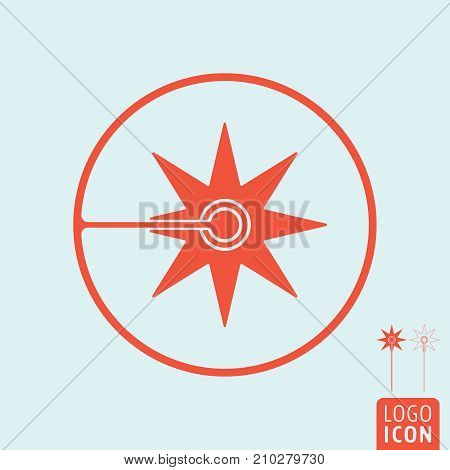 Laser icon isolated. Flash sparks of laser beam symbol. Vector illustration.