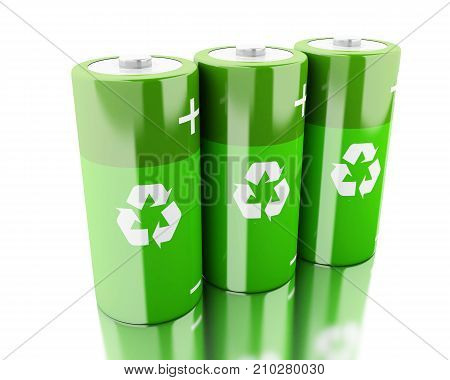 3D Green Battery With Recycling Symbol .