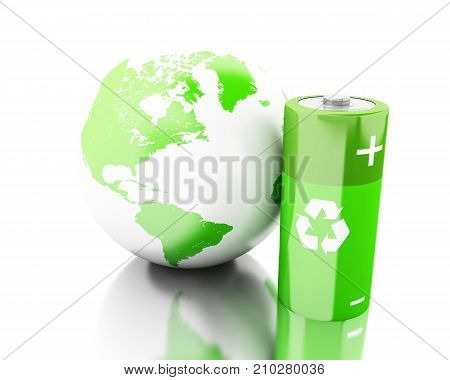3D Green Battery With Recycling Symbol And Earth Globe