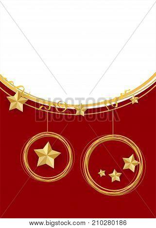 Winter seasonal new year greeting card. Festive shimmer star. Traditional Christmas ball set mockup background template. Xmas tree garland star lights. Red vector illustration template.