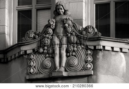 Decoration on the facade of an office building.