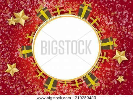 Red vector illustration template. Winter seasonal new year greeting card. Material flat style. Festive vintage shimmer star. Traditional Christmas ball mockup background. Xmas gifts garland.