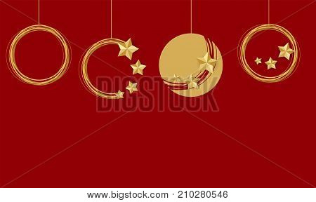 Christmas ball set mockup background Traditional. Xmas tree garland star lights. Red vector illustration template. Winter seasonal new year greeting card. Festive vintage shimmer star.