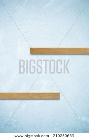 Empty wooden shelves on blue cement wall background product display montage