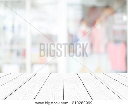 White perspective wood and blurred store with bokeh background product display montage