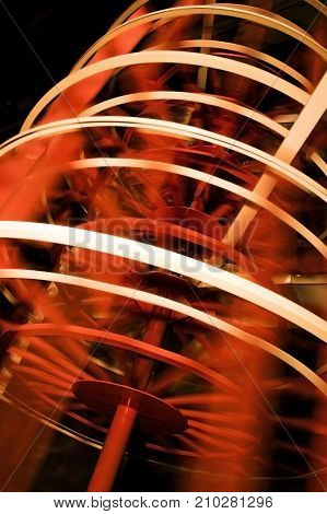 Close Up of Paddle Wheel in Motion in Red and White