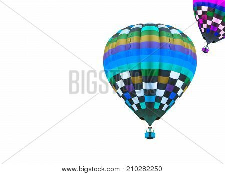 colorful hot air balloons isolated on white background