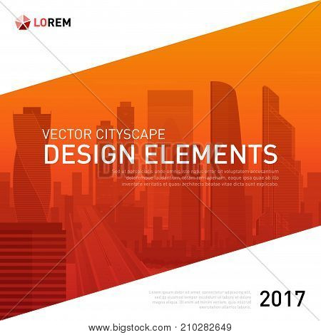 Design element for corporate graphic layout. Modern background template design with colored sitycape for investment, business, real estate, construction.