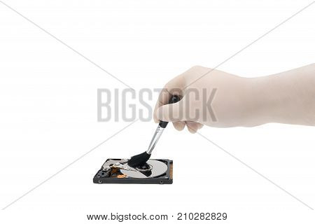 Hdd. Cleaning Open Hard Drive By Hand. Isolated White Background