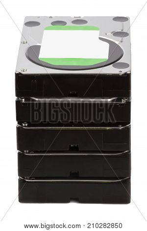 Hdd. Various Hard Disks On Isolated White Background
