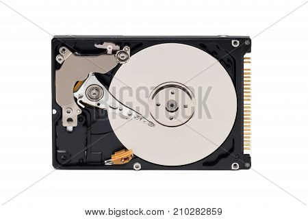 Hdd. Open Hard Disk On White Background