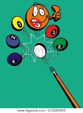 design illustrations of seven billiard balls complete with billiard sticks