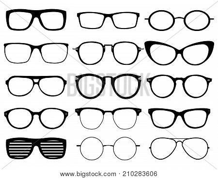 Set of custom glasses isolated on white background. Glasses model icons, man, women frames. Sunglasses, eyeglasses silhouettes. Different shapes, frame, styles Flat design Vector Illustration EPS