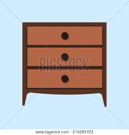 Wooden light brown chest of drawers. Made of natural materials. Vintage retro style furniture. Flat design Vector Illustration EPS
