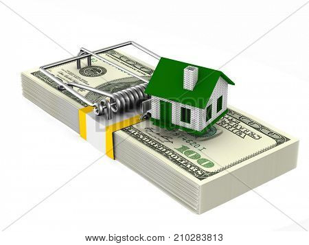 house in mousetrap. Isolated 3D illustration