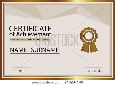 Vector certificate template. Certificate of achievement template with gold color.