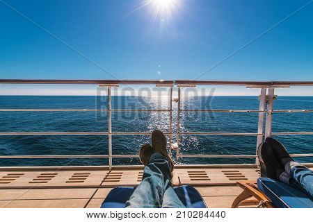 Cruise Ship Deckchairs Relax in the Sun. Sunny and Warm Weather on the Cruise. Travel Theme.