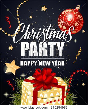 Christmas Party Happy New Year lettering with fir tree branch, gift box and decorations. Holiday, celebration, festivity. Party concept. Can be used for greeting card, poster, leaflet and brochure