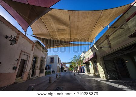 January 16 2016 Monterrey Mexico: shade over the street in the historic old town called 'Barrio Antiguo