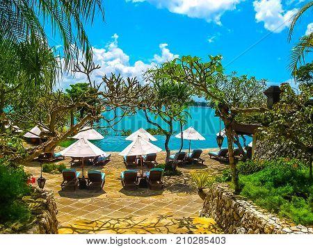 Jimbaran, Bali, Indonesia - April 14, 2014: View of the The main entrance at Four Seasons Resort Bali at Jimbaran Bay