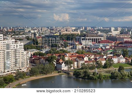 MINSK, BELARUS - AUGUST 15, 2016: Aerial view of the Trinity Hill (another name Trinity Suburb). Is the oldest surviving district of Minsk. The historic neighbourhood situated near Svislach River.