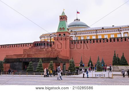 MOSCOW, RUSSIA - OCTOBER 06, 2016: The Lenin's Mausoleum (Lenin's Tomb) on the Red Square. The Mausoleum is a resting place of Soviet leader V. Lenin. His body has been on public display from 1924.