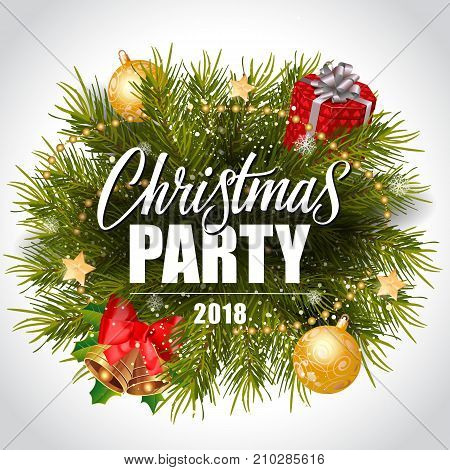 Christmas party 2018 lettering with fir wreath, gift box, bells, beads and baubles. Holiday, celebration, festivity. Party concept. Can be used for greeting card, poster, leaflet and brochure