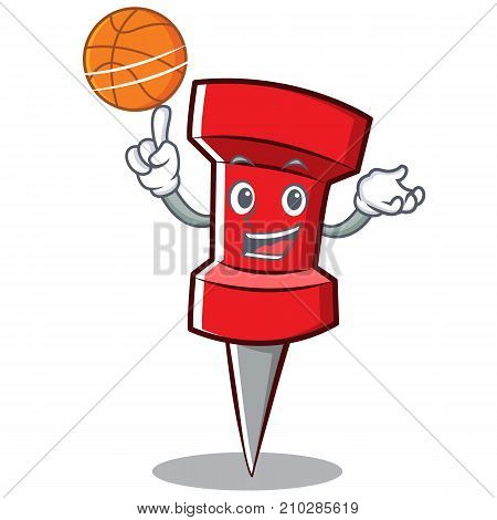 With basketball red pin character cartoon vector illustration
