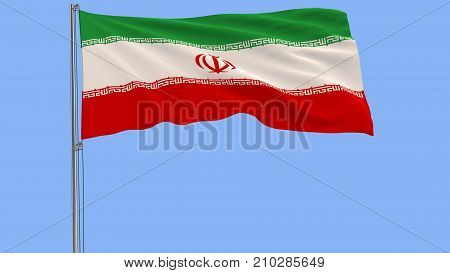 Flag of Iran on a flagpole fluttering in the wind on blue background 3d rendering