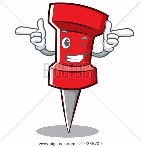 Wink red pin character cartoon vector illustration
