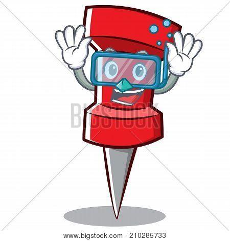Diving red pin character cartoon vector illustration