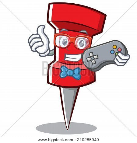 Gamer red pin character cartoon vector illustration