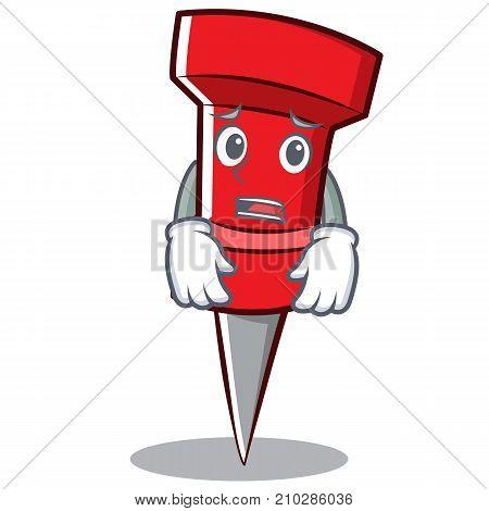 Afraid red pin character cartoon vector illustration