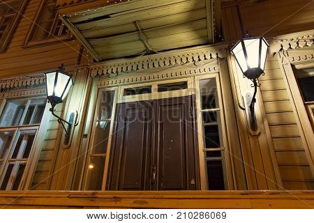 SAMARA, RUSSIA - OCTOBER 12, 2016: Facade of the Museum-Estate of Alexei Tolstoy. The building was built in 1881-1882. A. Tolstoy was a Russian and Soviet writer who specialized in science fiction.