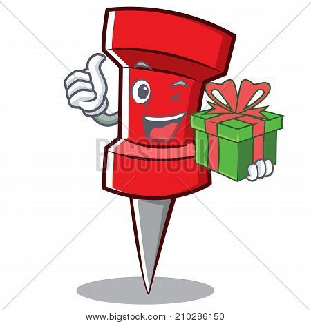 With gift red pin character cartoon vector illustration