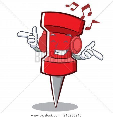 Listening music red pin character cartoon vector illustration