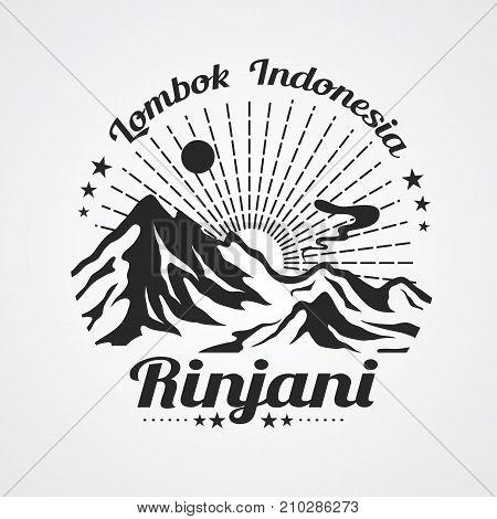 Graphic of rinjani mountain (volcano) lombok island indonesia vector illustration