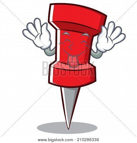 Tongue out red pin character cartoon vector illustration