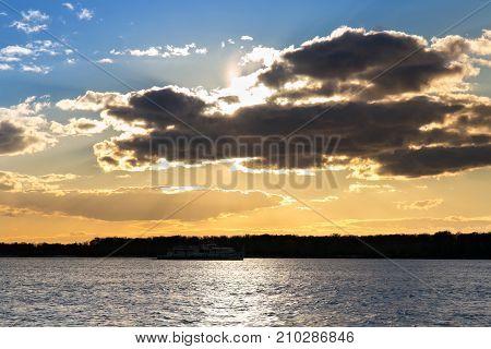 Colorful autumn sunset over the Volga River. Samara Russia.