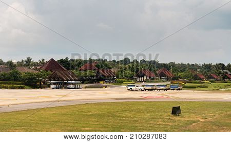 Koh Samui Island, Thailand - June 15, 2017: Unique Samui International Airport in the open air