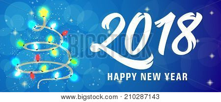 2018 Happy New Year lettering with fairy lights over blue background with bokeh. Holiday, celebration, festivity. Party concept. Can be used for greeting card, poster, leaflet and brochure