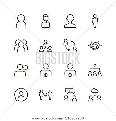 User icon set. Collection of high quality outline people pictograms in modern flat style. Black profile symbol for web design and mobile app on white background. Man line logo.