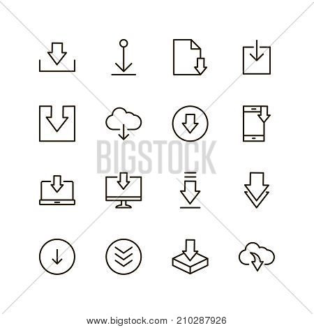Download icon set. Collection of high quality outline web pictograms in modern flat style. Black internet symbol for web design and mobile app on white background. Buttonline logo.